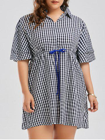 Drawstring Plus Size Checked Smock Shirt Dress - Blue - Xl