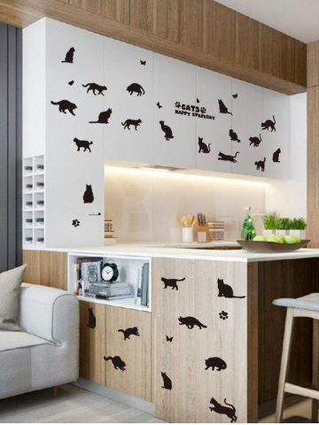 Latest Cat Animal Removable Home Decor Wall Sticker - 45*60CM BLACK Mobile
