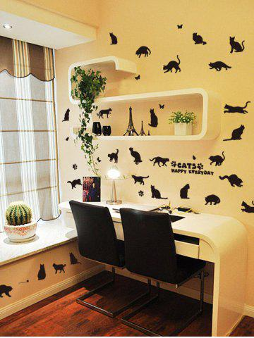 Best Cat Animal Removable Home Decor Wall Sticker - 45*60CM BLACK Mobile