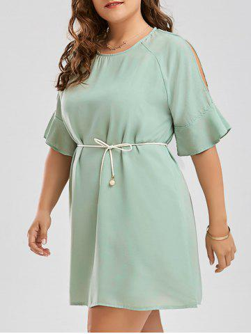 Online Plus Size Chiffon Flare Slit Sleeve Dress with Belt GRASS GREEN 4XL