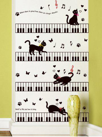 Fancy Removable Cartoon Cat Piano Wall Sticker For Kids - 60*90CM BLACK Mobile