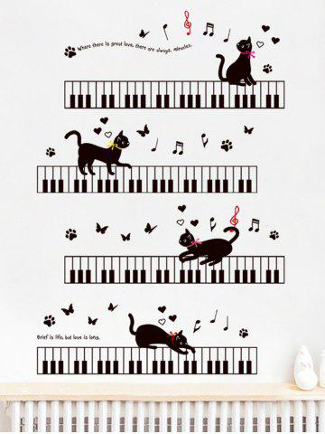 Store Removable Cartoon Cat Piano Wall Sticker For Kids - 60*90CM BLACK Mobile