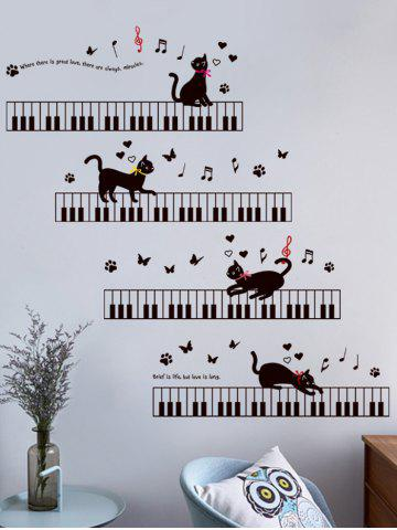 Cartoon Cat Piano Removable Wall Sticker For Kids