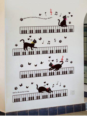 Shops Removable Cartoon Cat Piano Wall Sticker For Kids - 60*90CM BLACK Mobile