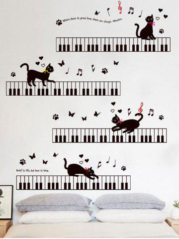 Outfit Removable Cartoon Cat Piano Wall Sticker For Kids - 60*90CM BLACK Mobile