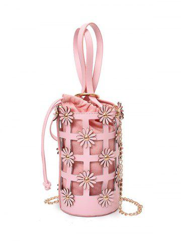 Flowers Cut Out Chain Bucket Bag - Pink