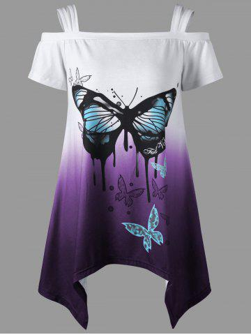 Online Asymmetrical Butterfly Print Cold Shoulder Top