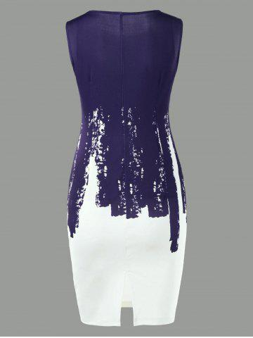 Store Sleeveless Two Tone Bodycon Dress - L PURPLISH BLUE Mobile