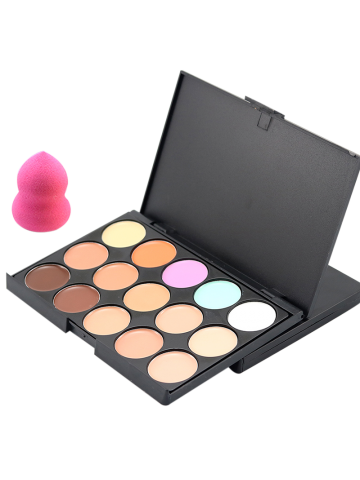 Sale 15 Colours Cream Concealer Palette and Random Color Makeup Sponge