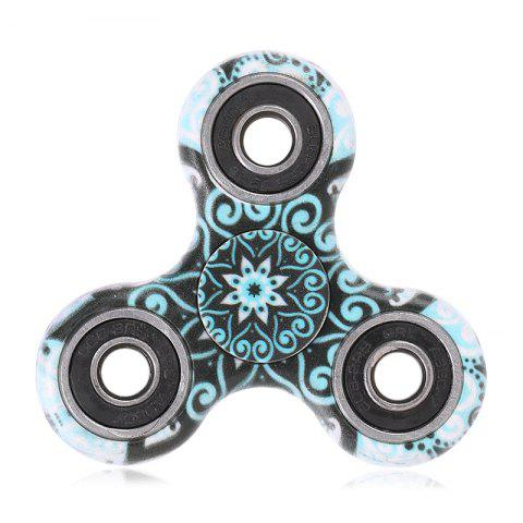 Shop Fiddle Toy Plastic Tri-bar Mandala Patterned Fidget Spinner TURQUOISE