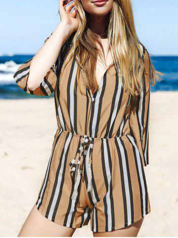Outfit Fashion Plunging Neck 3/4 Sleeve Striped Drawstring Romper For Women