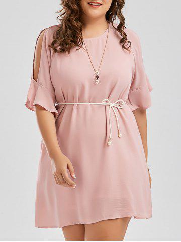 Plus Size Chiffon Flare Slit Sleeve Dress with Belt - Pink - 2xl