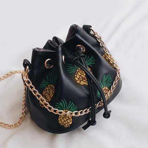 Best Chain Pineapple Embroidered Bucket Bag BLACK