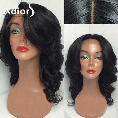 Outfit Adiors Perm Dyed Medium Free Part Wavy Lace Front Synthetic Wig - 18INCH #1B Mobile