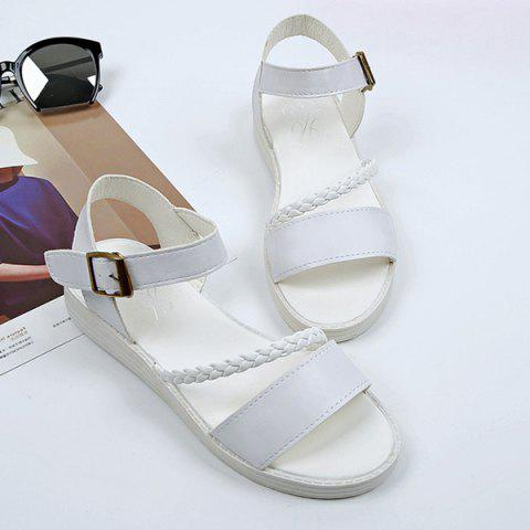 Outfits Flat Heel Faux Leather Sandals WHITE 39