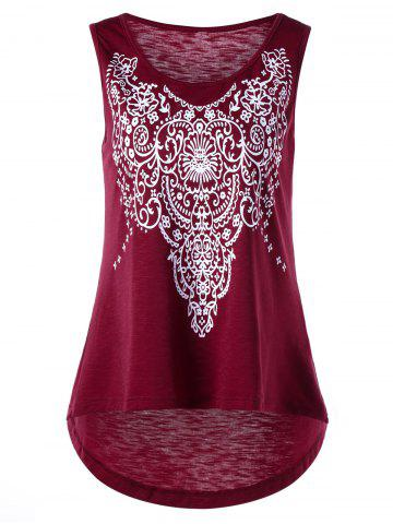 Cheap Printed Sleeveless High Low T-shirt - XL WINE RED Mobile