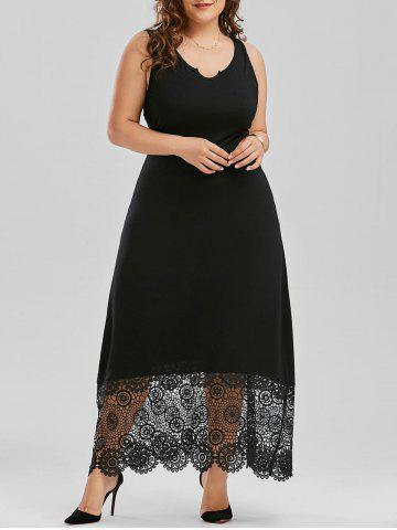 Latest Scalloped Lace Panel Plus Size Prom Dress