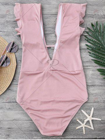 Shops Frilled One Piece Plunge Swimsuit - L PINK Mobile