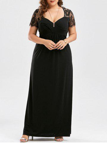 Lace Panel Plus Size Maxi Prom Party Dress - Black - 5xl