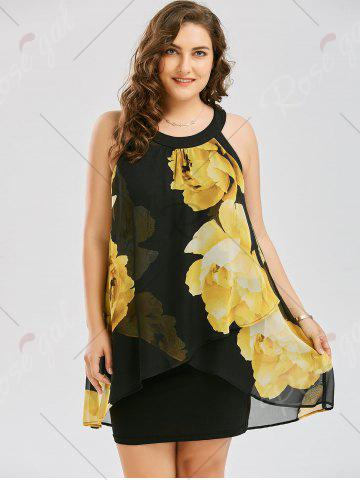 Latest Plus Size Floral Overlay Sheath Dress - 2XL YELLOW Mobile