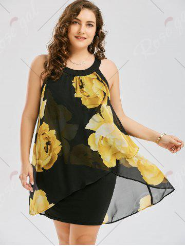 Buy Plus Size Floral Overlay Sheath Dress - 2XL YELLOW Mobile