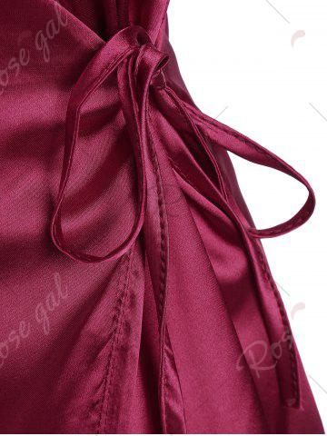 Store Mini Cami Satin Wrap Dress - XL WINE RED Mobile
