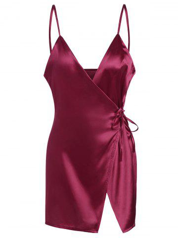 Discount Mini Cami Satin Wrap Dress - XL WINE RED Mobile