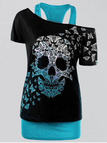 Latest Plus Size Butterfly Skull T-shirt and Tank Top LAKE BLUE 3XL