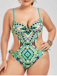 One Piece Plus Size Geometric Backless Swimwear