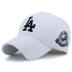 Emblem Letters Embroidered Baseball Hat - WHITE AND BLACK