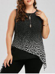 Polka Dot Overlap Plus Size Tank Top