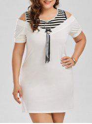Plus Size Striped Cold Shoulder T-shirt Dress