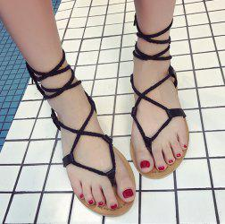 Tie Up Flat Heel Sandals