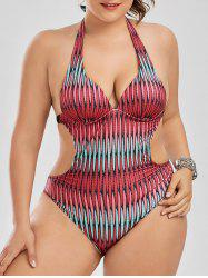 Backless Plus Size Print Halter Swimsuit