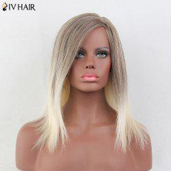 Siv Hair Medium Inclined Bang Straight Colormix Human Hair Wig