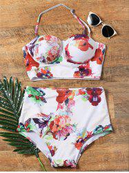 Flower Print Halter High Waisted 50s Bikini