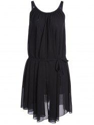 Belted Plus Size Chiffon Spaghetti Strap Flowy Dress