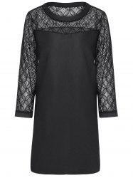 Plus Size Lace Sleeve Sheath Mini  Dress