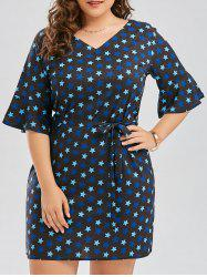 Star Print Plus Size V Neck Dress -