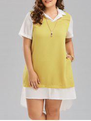 Color Block Plus Size High Low T Shirt Dress