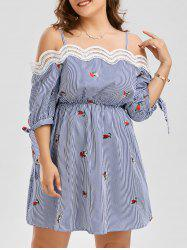 Embroidery Plus Size Slip Striped Dress