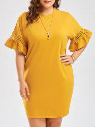 Плюс Размер Cutout Flare Sleeve Cocoon Tee Dress - Имбирь 5XL
