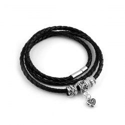 Faux Leather Heart Wrap Charm Bracelet - BLACK