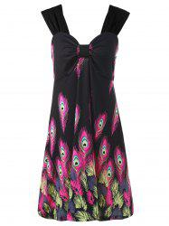 Feather Printed Plus Size Mini Sundress