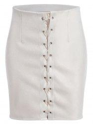 High Waisted Grommet Lace Up Bodycon Skirt -