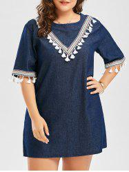 Embroidered Tassel Plus Size Peasant Mini Dress