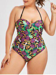 Halter Strappy Plus Size One Piece Swimsuit