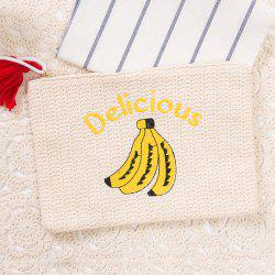 Banana Embroidery Straw Clutch Bag