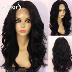 Adiors Long Center Part Shaggy Wavy Synthetic Wig - BLACK