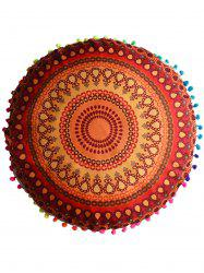 Mandala Printed Floor Round Cushion Pillowcase - ORANGE RED